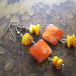 Golden Agate and Glass Antique Bronze Beaded Dangle earrings Satin Doll